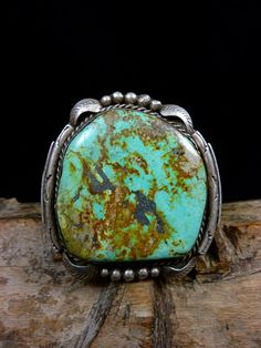 Stunning 140g Vintage Navajo Sterling Silver Cuff Bracelet w Phenomenal Pilot Mountain Turquoise! Just Plain Beautiful!