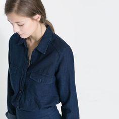 Zara Chambray Shirt Light weight, loose fit, long sleeve chambray shirt. Full button up. Dark wash. Size small Zara Tops Button Down Shirts