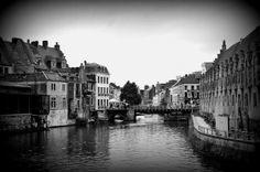 gand , belgique, canaux, noir et blanc