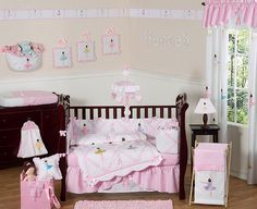 Ballerina 9 piece Crib Bedding set has all that your little bundle of joy will need. Let the little one in your home settle down to sleep in this incredible nursery set. This baby girl bedding set Baby Girl Bedding Sets, Baby Crib Bedding, Crib Sets, Baby Cribs, Bed Sets, Comforter Sets, Baby Design, Ballerina Nursery, Ballerina Pink