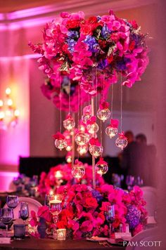 48 Ideas Wedding Centerpieces Tall Pink Sophisticated Bride For 2019 Mod Wedding, Purple Wedding, Trendy Wedding, Wedding Table, Wedding Reception, Wedding Flowers, Dream Wedding, Uplighting Wedding, Party Wedding