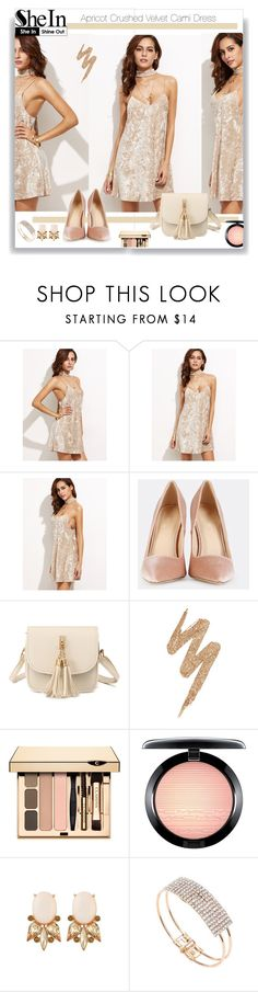 """""""SHEIN: Apricot Crushed Velvet Cami Dress"""" by sandraa-jwoww on Polyvore featuring Urban Decay and MAC Cosmetics"""