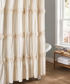 Lush Decor Darla Ruched Floral Bathroom Shower Curtain, x White Fabric Shower Curtains, Bathroom Shower Curtains, Luxury Curtains, Bathroom Ceilings, Shower Window, Linen Curtain, Cafe Curtains, Bath Shower, Shabby Chic Bathrooms