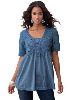 37f48b96378d1 Crochet Sleeve Tunic by Denim 24 7