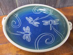 Dragonfly Serving Bowl with Handles  at Jean's Clay Studio on Etsy.
