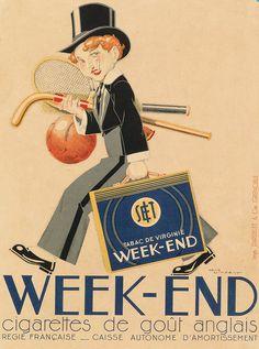 Poster by René Vincent (1879-1936), ca 1930s, Week-end, Cigarettes de goût anglais (English cigarettes taste). (F)