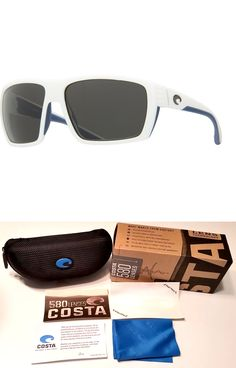 00a880711c Sunglasses 151543  Costa Del Mar Hamlin Polarized Sunglasses White And Blue  Gray 580G Glass Authentic