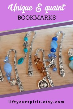 These cute beaded bookmarks are perfect for any book lover. There are many bookmarks to choose from - zen bookmarks, celestial bookmarks, totem animal bookmarks, etc. Beaded Bookmarks, Book Marks, Paper Crafts, Diy Crafts, Beading Ideas, Any Book, Jewellery Making, Bohemian Jewelry, Homemade Gifts