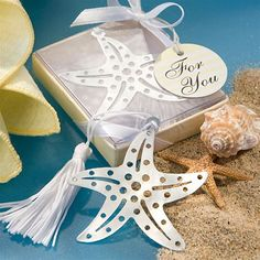 Decorated with white tassels, these silver starfish bookmarks make beach theme wedding favors with true star power. Plan on these starfish bookmarks as perfect keepsakes for a picture perfect beach themed wedding day or special occasion. Wedding Favors And Gifts, Inexpensive Wedding Favors, Beach Wedding Favors, Wedding Ideas, Golf Wedding, Wedding Stuff, Summer Wedding, Wedding Ceremony, Destination Wedding