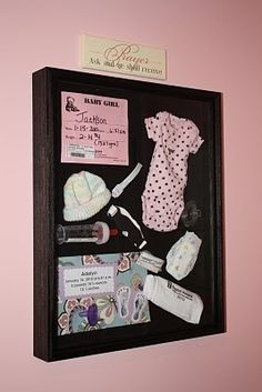 Shadow box with babys stuff from the hospital...way better than sitting in a box somewhere.. but in green