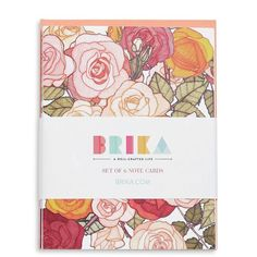 Brika Renee Garner Rose Set of 6 Note Cards ($16) ❤ liked on Polyvore featuring home, home decor, stationery and floral multi