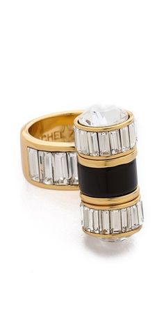 { rachel zoe } black and gold deco inspired baguette statement ring