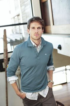 Andrew Cooper - great outfit - Lacoste, men's casual style - polo, casual shirt layers