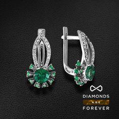 Серьги с бриллиантами, изумрудом из белого золота 585 пробы (артикул 37385) Diamond Jewelry, Gold Jewelry, Jewelry Necklaces, Ruby Sapphire, High Jewelry, Indian Jewelry, Fashion Jewelry, Jewelry Design, Accessories