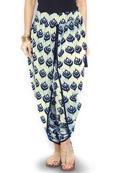 Buy Dabu printed Cotton Dhoti Pant in Cream online, work: Printed, color: Cream, usage: Casual, category: Indo Western, fabric: Cotton, price: $40.59, item code: BTS23, gender: women, brand: Utsav