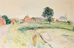 Johan Dijkstra (1896-1978)   A view of Stitswerd, Groningen   20th Century, Drawings & Watercolors   Christie's