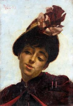 Theodoros Rallis - Portrait of a young Woman 1887 Name Paintings, Greek Paintings, 10 Picture, Greek Art, Lausanne, Magazine Art, Art Market, Impressionist, Young Women
