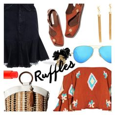 """""""Ruffles & Ruffles"""" by stacey-lynne ❤ liked on Polyvore featuring Mochi, Zimmermann, Sam Edelman, Ray-Ban, Yves Saint Laurent and MAC Cosmetics"""