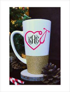 Nurse Monogram Coffee Mug // Glitter Dipped by PrettyLilLettersCo