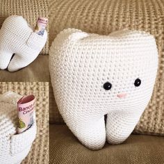 Tooth pillow. Tooth fairy visits tonight. Handmade by micacrochet