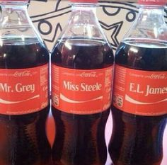Fifty Shades of Grey / Mr. Grey / Miss Steele / E. L James CocaCola bottles 50 Shades Trilogy, Fifty Shades Series, 50 Shades Freed, Fifty Shades Darker, Cristian Grey, Shades Of Grey Book, Ana Steele, Film Books, Dakota Johnson