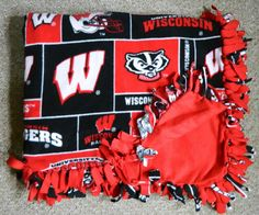 "Large 72""x48"" Fleece Tie Blanket Throw UW University Of Wisconsin Madison Badgers Bucky #Badgers #Wisconsin Basketball #NCAA Championship #MarchMadness Team Red Black Logo Soft Frank Kaminsky Sam Decker Nigel Hayes Bo Ryan Mancave Bar Home Couch Warm Wall Decor Hanging Sports Theme Rec Room"