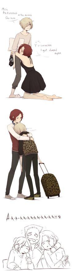 Mila and Yuri...and Georgi by Tanuki-desu | awwwww