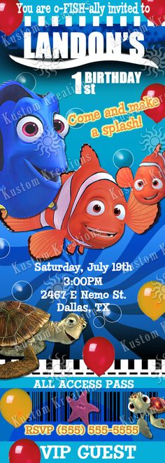 Finding Nemo Ticket 2 Birthday Invitation