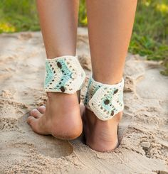 Chevron Crochet Barefoot Sandals Mint and Ivory by barmine on Etsy