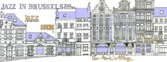 """[ """"Jazz in Brussels: the clubs"""" I love this map. Makes me want to jump on a plane right now :-) I love the urban sketch style & the colors & very cool subject ]"""