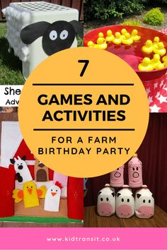 7 games and activities to play at a farm themed first birthday party. Stop the b… 7 games and activities to play at a farm themed first birthday party. Stop the boredom with these great party games to make the party fun. Party Animals, Farm Animal Party, Farm Animal Birthday, Farm Birthday, Farm Party Games, Farm Themed Party, Barnyard Party, Party Fun, Farm Games