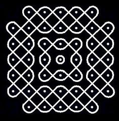 7 - 5 parallel dots (Neer Pulli) Kolam - Start with 7 dots - 5 lines, leave one dot at both ends - one line.