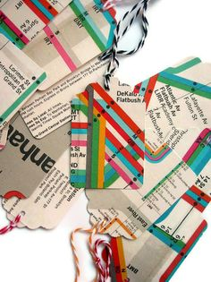 NYC Subway Map- Gift Tags- One Half Dozen Random Selection- Bakers Twine Strings. $7.00, via Etsy.
