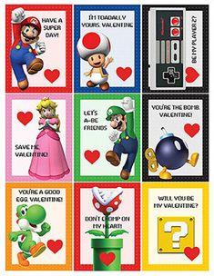 Super Mario Nintendo Printable Valentines by erinleasehall School Valentines Treats, Valentines For Boys, Valentine Box, Happy Valentines Day, Valentine Ideas, Vintage Valentines, Crafts For Boys, Diy For Kids, Super Mario Nintendo