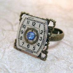 Square Shape Steampunk Ring - Sapphire Blue - Neo Victorian Gold Tone Filigree - Vintage Repurposed Watch Dial and Gear Jewelry - Handmade and Designed by A Second Time