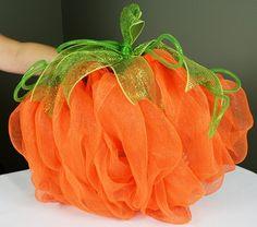 Party Ideas by Mardi Gras Outlet: DIY: Pumpkin Door Decoration with Deco Mesh