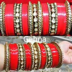 Have a look at our customized bridal churra. This beautiful bridal churra is one of our customized product in golden platted kundan stones and with red churra patti in the middle.  We can customize our jewelry according your choice and preferences.  Visit our website today to get 15 % off on your entire purchase.  Checkout code : VAISAKHI15  www.gehnajewelry.com Free shipment on all Canada orders.  #follow #fashiondesign #fashion #bollywoodfashion #bridal #bridalmakeup #bollywoodbride…