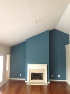teal blue accent wall.... THIS color in the bathroom.