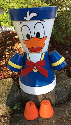 Donald Duck or Daisy Duck Flower Pot People Clay Planter Pot