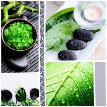 Tableau Toile Cadre Déco Zen Imprimé Spa Bien Etre Galets Noir Bambou Vert