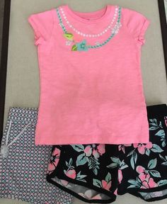 Carters Girls Size 6X, Mixed Lot Of 3 Items, 2 Pull On Shorts & Top  | eBay