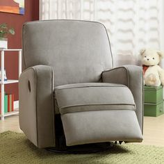Enjoy peaceful hours of comfort in this stylish nursery glider recliner. Combining contemporary design and traditional construction methods, this Colton gray glider recliner features generous padding