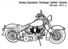 harley davidson heritage softail classic motorcycle coloring page harley davidson heritage softail classic motorcycle