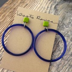 Stud hoops! vintage blue glass hoop and green glass stud by bootsravendesigns, $37.00