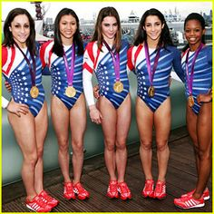 Fierce Five Celebrate Olympic Medals at adidas Lounge: Photo The Fierce Five of the U. Women's Gymnastics Team - Jordyn Wieber, Kyla Ross, McKayla Maroney, Aly Raisman, and Gabby Douglas - show off their gold medals at… Team Usa Gymnastics, Olympic Gymnastics, Gymnastics Posters, Gymnastics Pictures, Cheerleading, Jordyn Wieber, Aly Raisman, Gabby Douglas, Sport