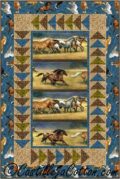 Horses Running Free Quilt Pattern CJC-5123 Easy to make using a large motif fabric and geese border.
