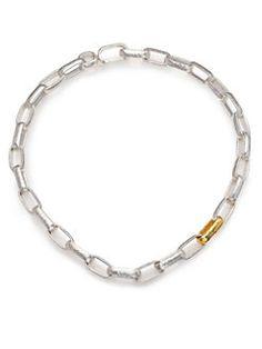 GURHAN - Hoopla 24K Yellow Gold & Sterling Silver Geometric Link Necklace