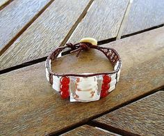 Leather wrap bracelet murano crystal white jade beads brown