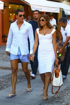 Eva Mendes And George Gargurevich Walking With Domenico Dolce And Stefano Gabbana In Portofino, Italy
