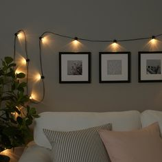 IKEA BLÖTSNÖ LED lighting chain with 12 lights Indoor/battery-operated black Creates a soft, cosy mood light in your room. String Lights In The Bedroom, Indoor String Lights, Bedroom Fairy Lights, String Lights Indoors, Hanging Lights Bedroom, String Lighting, Fairy Lights Ikea, Twinkle Lights Bedroom, Fairy Lights On Wall
